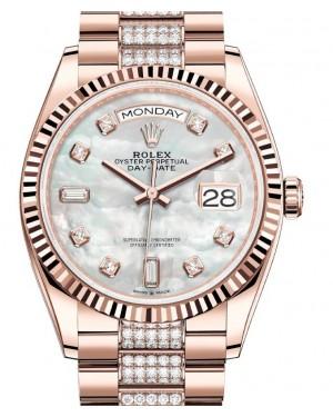 Rolex Day-Date 36 Rose Gold White Mother of Pearl Diamond Dial & Fluted Bezel Diamond President Bracelet 128235 - BRAND NEW