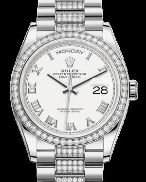 Rolex Day-Date 36 Silver Dial Diamond Bezel White Gold Diamond Set President Bracelet 128349RBR - BRAND NEW