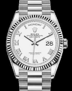 Rolex Day-Date 36 White Gold Silver Roman Dial & Fluted Bezel President Bracelet 128239 - BRAND NEW