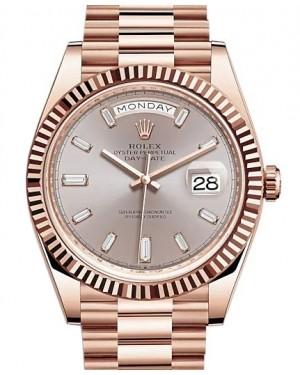 Rolex Day-Date 40 Rose Gold Sundust Diamond Dial & Fluted Bezel President Bracelet 228235 - BRAND NEW