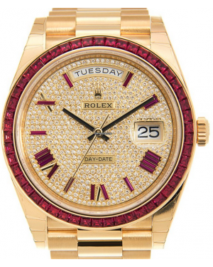 Rolex Day-Date 40 Yellow Gold Diamond/Ruby Dial & Bezel President Bracelet 228398TRU
