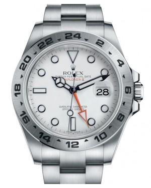 """Rolex Explorer II """"Steve McQueen"""" GMT Stainless Steel White Dial 42mm Oyster Bracelet 216570 - BRAND NEW"""