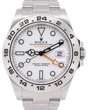 "Rolex Explorer II ""Steve McQueen"" GMT Stainless Steel White Dial 42mm Oyster Bracelet 216570 - UNWORN"