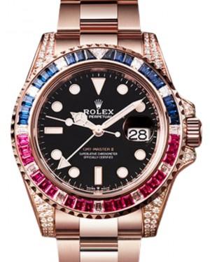 Rolex GMT-Master II Everose Rose Gold/Diamond 40mm Black Dial Sapphire Ruby Bezel Oyster Bracelet 126755SARU - BRAND NEW