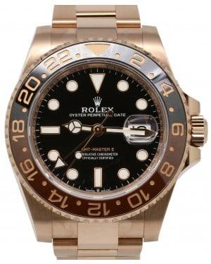 Rolex GMT-Master II Rose Gold Black Dial & Brown/Black Ceramic Bezel Oyster Bracelet 126715CHNR - PRE-OWNED