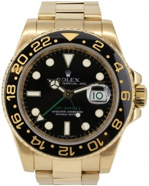 Rolex GMT-Master II Yellow Gold Black Dial & Black Ceramic Bezel Oyster Bracelet 116718LN - PRE-OWNED
