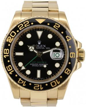 Rolex GMT-Master II Yellow Gold Black Dial & Black Ceramic Bezel Oyster Bracelet 116718LN - PRE-OWNED