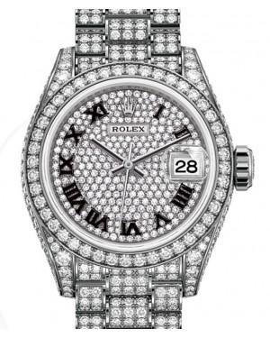 Rolex Lady-Datejust 28 White Gold Diamond-Paved Roman Dial & Diamond Paved Bracelet 279459RBR - BRAND NEW