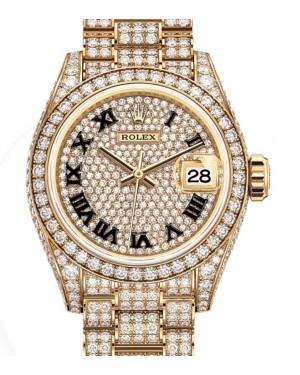 Rolex Lady-Datejust 28 Yellow Gold Diamond-Paved Roman Dial & Diamond Paved Bracelet 279458RBR - BRAND NEW