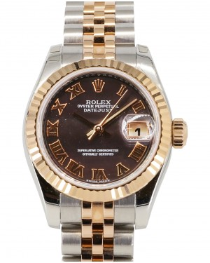 Rolex Lady-Datejust 26 179171-DMOPRJ Dark Mother of Pearl Roman Fluted Rose Gold Stainless Steel Jubilee - BRAND NEW