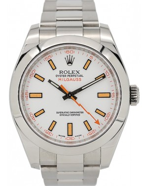 Rolex Milgauss Stainless Steel White Dial Smooth Bezel Oyster Bracelet 116400 - PRE-OWNED