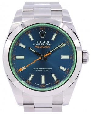 Rolex Milgauss Stainless Steel Blue Index Dial & Smooth Domed Bezel Green Crystal Oyster Bracelet 116400GV 116400V - PRE-OWNED