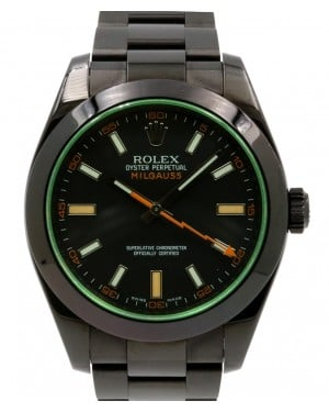 Rolex Milgauss Green Crystal Stainless Steel/PVD Black Dial & Bezel Oyster Bracelet 116400GV - PRE-OWNED