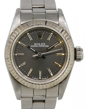 Rolex Oyster Perpetual 26 Ladies Stainless Steel Grey Index Dial Fluted Bezel & Steel Bracelet 67194 - PRE-OWNED