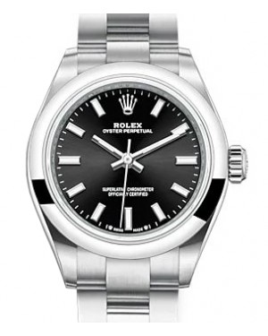 Rolex Oyster Perpetual 28 Stainless Steel Black Index Dial & Smooth Domed Bezel Oyster Bracelet 276200 - BRAND NEW