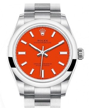 Rolex Oyster Perpetual 31 Stainless Steel Coral Index Dial & Smooth Bezel Oyster Bracelet 277200 - BRAND NEW