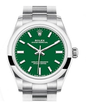 Rolex Oyster Perpetual 31 Stainless Steel Green Index Dial & Smooth Bezel Oyster Bracelet 277200 - BRAND NEW