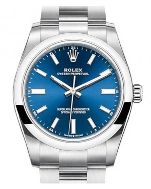 Rolex Oyster Perpetual 34 Stainless Steel Blue Index Dial & Smooth Bezel Oyster Bracelet 124200 - BRAND NEW