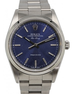 Rolex Oyster Perpetual 34 Stainless Steel Blue Index Dial & Steel Bezel Oyster Bracelet 14000 - PRE-OWNED