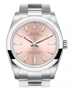 Rolex Oyster Perpetual 34 Stainless Steel Pink Index Dial & Smooth Bezel Oyster Bracelet 124200 - BRAND NEW