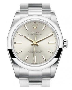 Rolex Oyster Perpetual 34 Stainless Steel Silver Index Dial & Smooth Bezel Oyster Bracelet 124200 - BRAND NEW