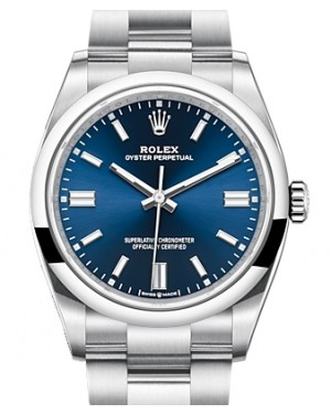 Rolex Oyster Perpetual 36 Stainless Steel Blue Index Dial & Smooth Domed Bezel Oyster Bracelet 126000 - BRAND NEW