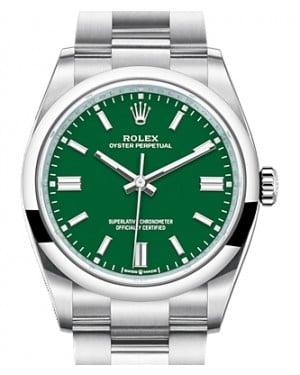 Rolex Oyster Perpetual 36 Stainless Steel Green Index Dial & Smooth Domed Bezel Oyster Bracelet 126000 - BRAND NEW