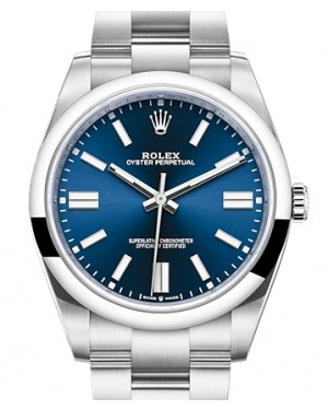 Rolex Oyster Perpetual 41 Stainless Steel Blue Index Dial & Smooth Bezel Oyster Bracelet 124300 - BRAND NEW
