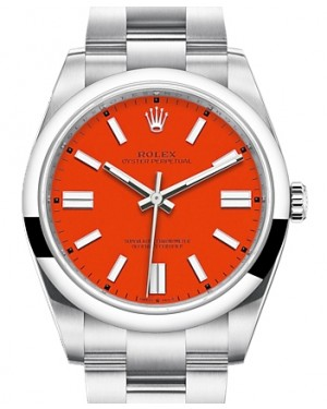 Rolex Oyster Perpetual 41 Stainless Steel Red Coral Index Dial & Smooth Bezel Oyster Bracelet 124300 - BRAND NEW