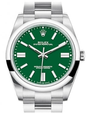 Rolex Oyster Perpetual 41 Stainless Steel Green Index Dial & Smooth Bezel Oyster Bracelet 124300 - BRAND NEW