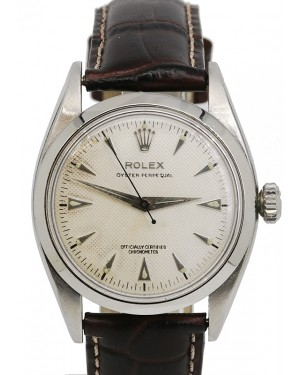 Rolex Oyster Perpetual Vintage White dial Smooth Dome Bezel Leather Strap Stainless Steel 34mm 6580 - PRE-OWNED