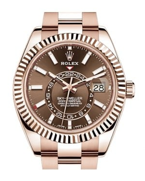 Rolex Sky-Dweller Rose Gold Chocolate Index Dial Fluted Bezel Oyster Bracelet 326935 - BRAND NEW