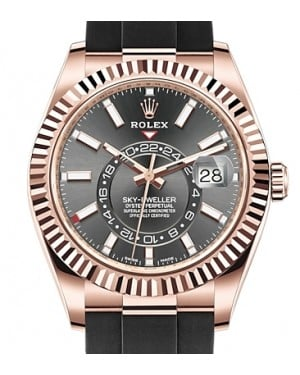 Rolex Sky-Dweller Rose Gold Dark Rhodium Index Dial Fluted Bezel Rubber Strap 326235 - BRAND NEW