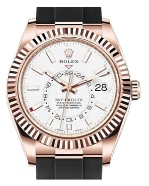 Rolex Sky-Dweller Rose Gold White Index Dial Fluted Bezel Rubber Strap 326235 - BRAND NEW