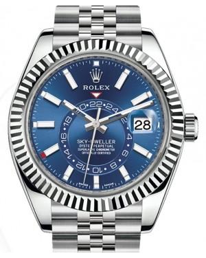 Rolex Sky-Dweller White Gold/Steel Blue Index Dial Fluted Bezel Jubilee Bracelet 326934 - BRAND NEW