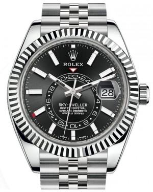 Rolex Sky-Dweller White Gold/Steel Black Index Dial Fluted Bezel Jubilee Bracelet 326934 - BRAND NEW