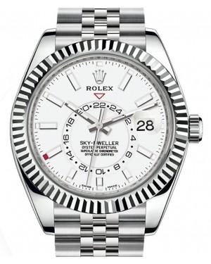 Rolex Sky-Dweller White Gold/Steel White Index Dial Fluted Bezel Jubilee Bracelet 326934 - BRAND NEW