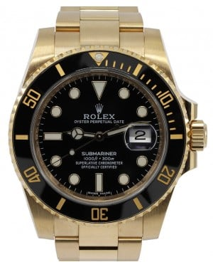 Rolex Submariner Date 18k Yellow Gold Black Dial Oyster Bracelet 116618LN - PRE-OWNED