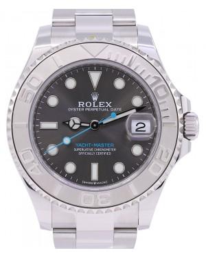 Rolex Yacht-Master 37 Stainless Steel Dark Rhodium Dial Platinum Bezel Oyster Bracelet 268622 - PRE-OWNED