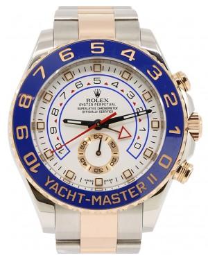 Rolex Yacht-Master II Rose Gold/Steel Blue Hands 44mm 18k Ceramic Bezel Oyster Bracelet 116681 - PRE-OWNED