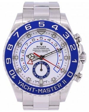 Rolex Yacht-Master II Stainless Steel White Dial Mercedes Hands Blue Ceramic Bezel 116680 - PRE-OWNED