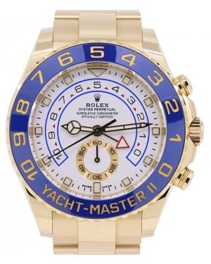 Rolex Yacht-Master II Yellow Gold White Dial Mercedes Hands Blue Ceramic Bezel 116688 - PRE-OWNED
