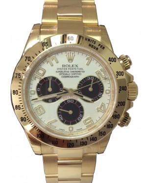 Rolex Daytona 116528-IVRA White Arabic Black Subdials 18k Yellow Gold BRAND NEW