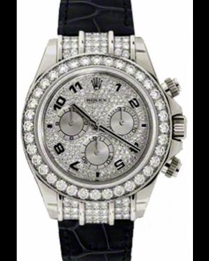 Rolex Daytona 116599-PVEDADBLKL Pave Diamond Arabic Diamond Bezel Black Leather BRAND NEW