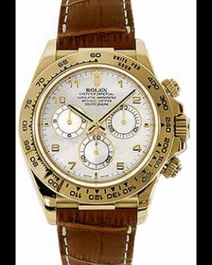 Rolex Daytona 116518-MOPABR White Arabic 18k Yellow Gold Brown Leather BRAND NEW