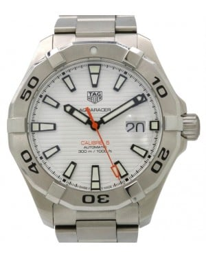 TAG Heuer Aquaracer Calibre 5 Stainless Steel White Index & Steel Bracelet WAY2013.BA0927 - PRE-OWNED
