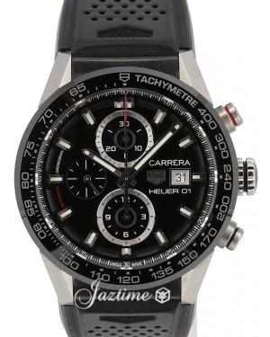 Tag Heuer Carrera Calibre Heuer 01 Chronograph CAR201Z Black Index Ceramic Bezel Rubber Strap 43mm - PRE-OWNED
