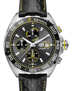 Tag Heuer Formula 1 Senna Special Edition Automatic Chronograph 44mm Stainless Steel Grey Index Dial & Leather Strap CAZ201B.FC6487 - BRAND NEW