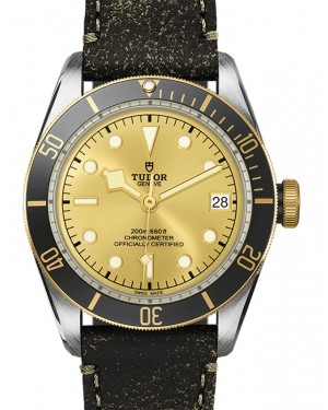 Tudor Heritage Black Bay Champagne Dial Black Bezel Two-Tone Yellow Gold & Stainless Steel Leather Strap 41mm 79733N - BRAND NEW