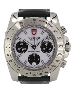 "Tudor Sport Chronograph ""Panda"" White Index Black Subdials Stainless Steel Bezel 40mm Leather Strap 20300 - PRE-OWNED"